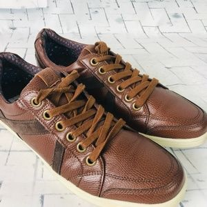 BEN SHERMAN Mens Brown Leather Lace Up Sneakers